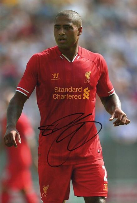 Glen Johnson, Liverpool & England, signed 12x8 inch photo.